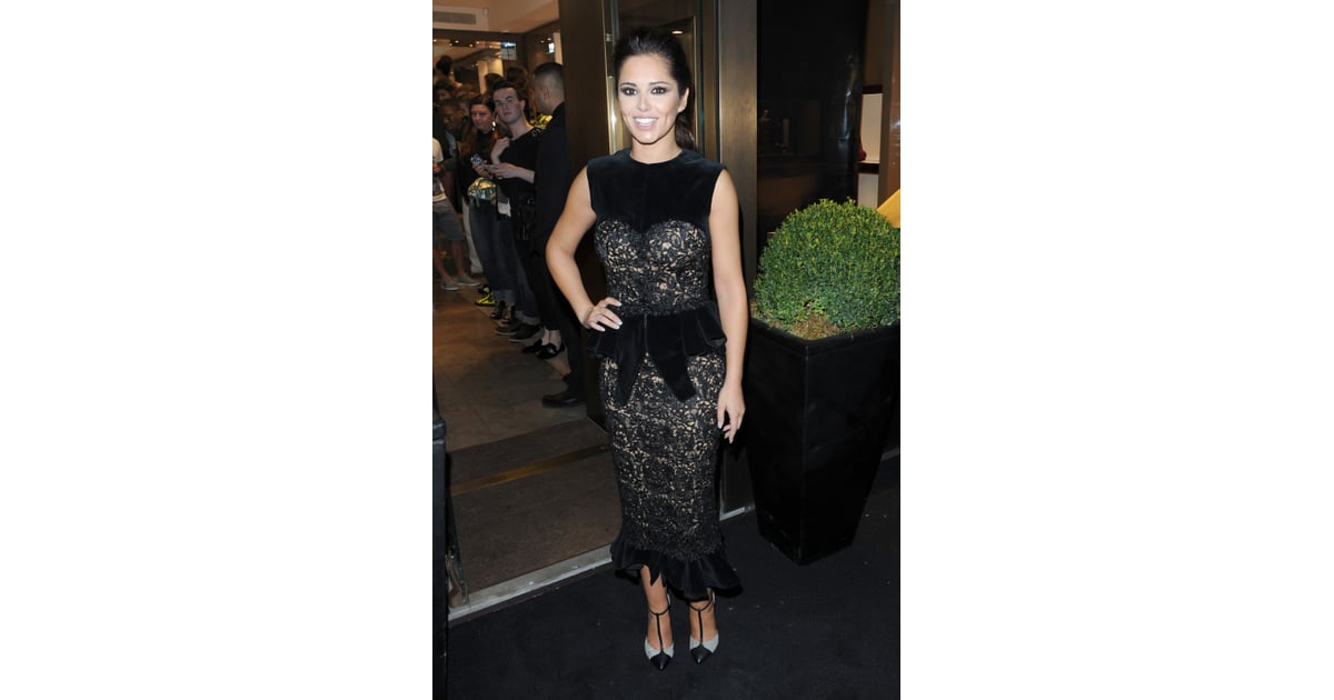 2742f09198836 Cheryl Cole picked a black velvet peplum design at the Giuseppe | Cheryl  Cole Style Evolution Fashion Photos | POPSUGAR Fashion UK Photo 51