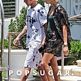 Hailey Baldwin Floral Pajamas With Justin Bieber in Miami