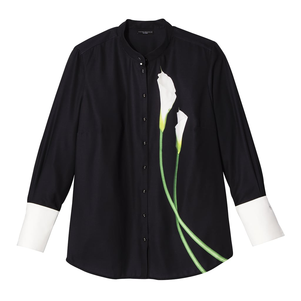 Women's Plus Black Calla Lily Button Down Top ($30)