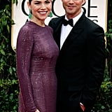 Julianna Margulies and her husband Keith Lieberthal come out for the Golden Globe awards.