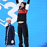 Silver medalist Kelsey Serwa of Canada celebrated her women's ski cross win.