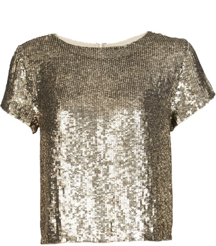 Alice & Olivia Sequin Short Sleeve Top