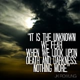 """It is the unknown we fear when we look upon death and darkness. Nothing more."" — Harry Potter and the Half-Blood Prince"