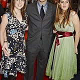 Lucky ladies! Princess Eugenie and Princess Beatrice posed with Leonardo DiCaprio at the London premiere of The Aviator in 2004.