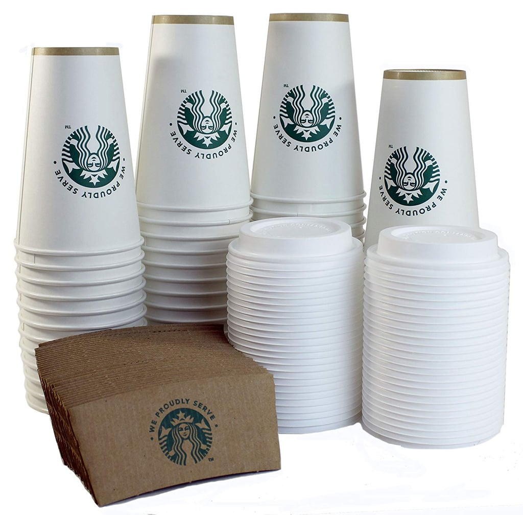 Starbucks White Disposable Hot Paper Cups, Sleeves and Lids