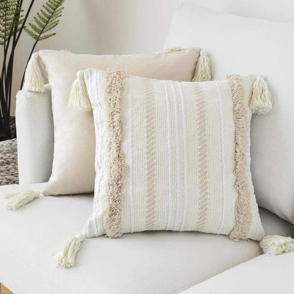 Blue Page Tassel Boho Pillow Covers
