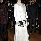 Alice Eve styled a textured white confection with suede pumps and pastel polish at Roksanda Ilincic.