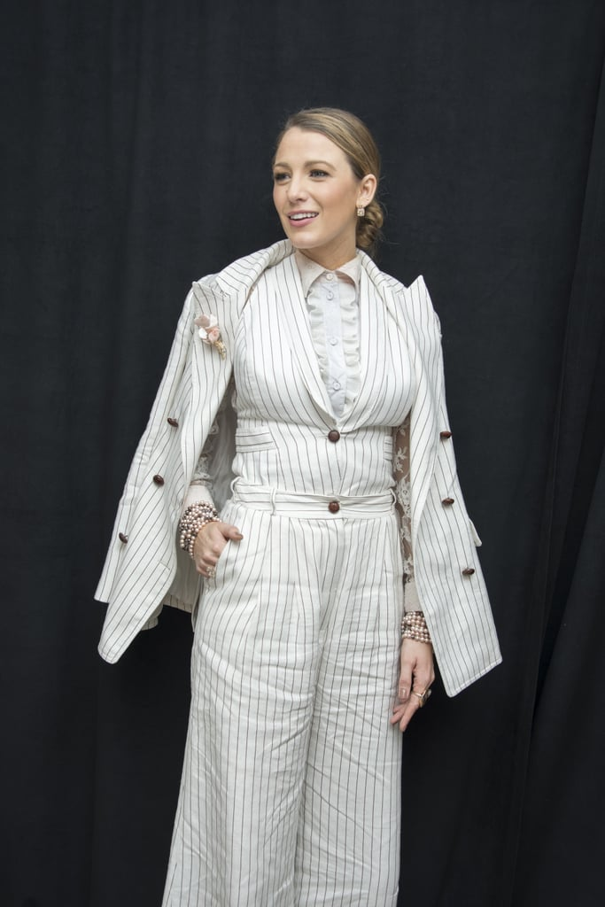 Blake Lively Wearing a White Striped Blazer