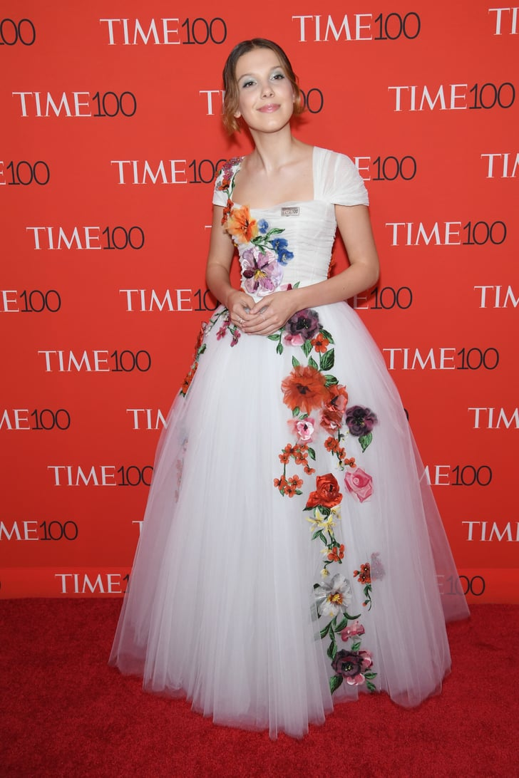 Blooming Makeup: Millie Bobby Brown Floral Dress At Time 100 Gala 2018