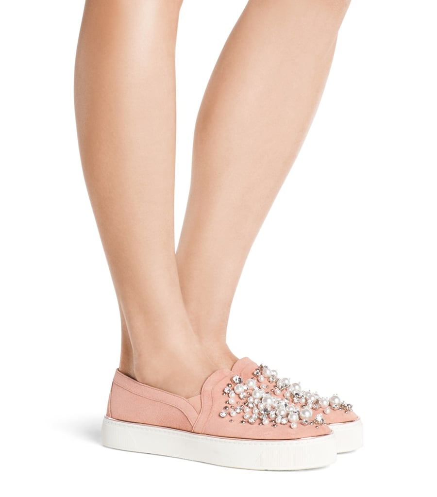 Stuart Weitzman's Decor Embellished Sneakers ($498) have a scattering of crystal beads and pearls.