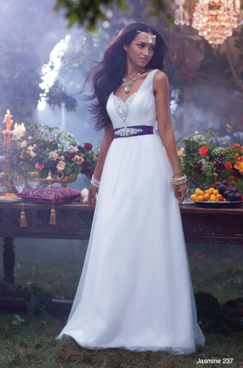 The Alfred Angelo Jasmine dress ($1,149) has intricate rhinestone detailing on the bodice and a plum belt fit for the sultan's daughter.