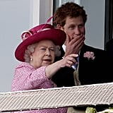 The queen and Prince Harry watched a horse race together in 2011.
