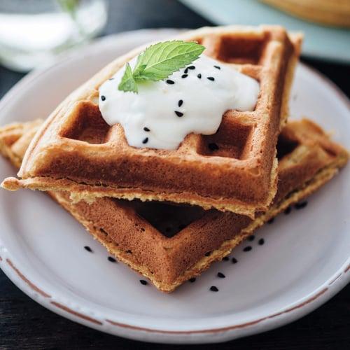 Chickpea Waffles With Chia Seed Yogurt