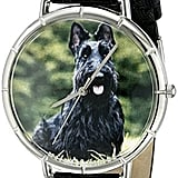 Whimsical Watches Women's Scottie Black Leather and Silvertone Photo Watch ($95)