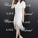For the Chopard Gentleman's Night, Julianne wore a fringe dress, which she accessorized with Chopard jewelry and Gianvito Rossi heels.