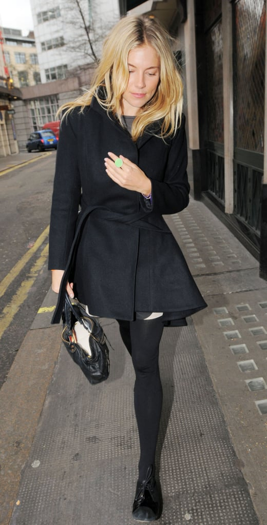 Sienna Miller was at The Ivy in London today with a male pal. She returned to the UK with Jude Law last week, after celebrating the New Year and their birthdays in Nairobi. The couple had a busy 2010, including buying a new home, and it looks like 2011 will be the year they tie the knot. Reports claim they're planning a hippy-style ceremony at a small church in Dorset or Devon. There were rumours the couple had a marriage blessing in Laos last April, and Sienna may well be a married woman before she turns 30 at the end of the year.