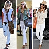 Three summery white-jean outfits, courtesy of Elle Macpherson, Gwyneth Paltrow, and Eva Longoria. Which one is your favorite?