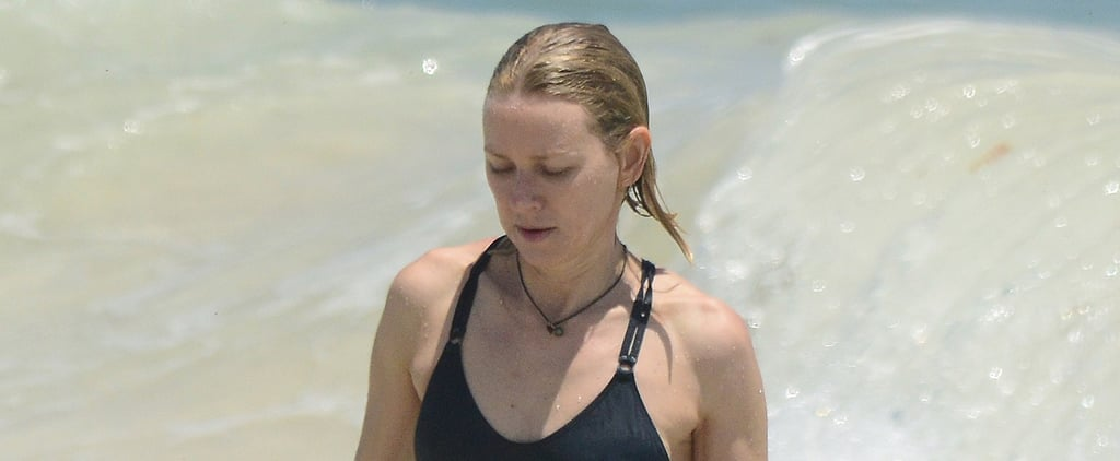 Naomi Watts Wearing Navy One-Piece Swimsuit