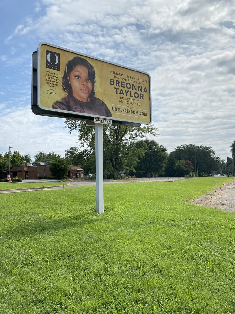 "Shortly after debuting its striking cover featuring a digital portrait of Breonna Taylor, O, The Oprah Magazine put up 26 billboards demanding justice throughout her hometown of Louisville, KY. The number of billboards represents Breonna's age when she was shot and killed in her home by police officers on March 13.  ""I cry for justice in her name."" The historic September 2020 issue marked the first time Oprah was not on the cover of her eponymous magazine. ""We have to use whatever megaphone we have to cry for justice,"" Oprah said in a press statement. ""And that is why Breonna Taylor is on the cover of O magazine. I cry for justice in her name. The September issue honors her and every other Black woman whose life has been taken too soon."" The billboards, which were installed on Aug. 6, include 24-year-old artist Alexis Franklin's digital portrait and text that reads, ""Demand that the police involved in killing Breonna Taylor be arrested and charged."" The billboards also encourage people to visit the website for Until Freedom, a social justice organization calling for the arrest and indictment of the three officers responsible for Breonna's death: Brett Hankison, Jonathan Mattingly, and Myles Cosgrove. In addition to making a donation to Until Freedom, those who would like to get involved can sign the Color of Change, Change.org, and White House petitions, donate to the Louisville Community Bail Fund, and continue spreading Breonna's story and saying her name on social media.       Related:                                                                                                           Beyoncé Wrote a Letter to Kentucky's Attorney General Demanding Justice For Breonna Taylor"