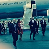 Kate, Will, and George got a special lift from the New Zealand Air Force. Source: Instagram user sperrypeoplemag