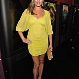 Rebecca Romijn flaunts her baby belly in a sheer yellow Reem Acra dress and Lucifer Vir Honestus turquoise and diamond leaf earrings. So fun.