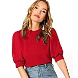 SheIn Puff-Sleeve Casual Solid Top