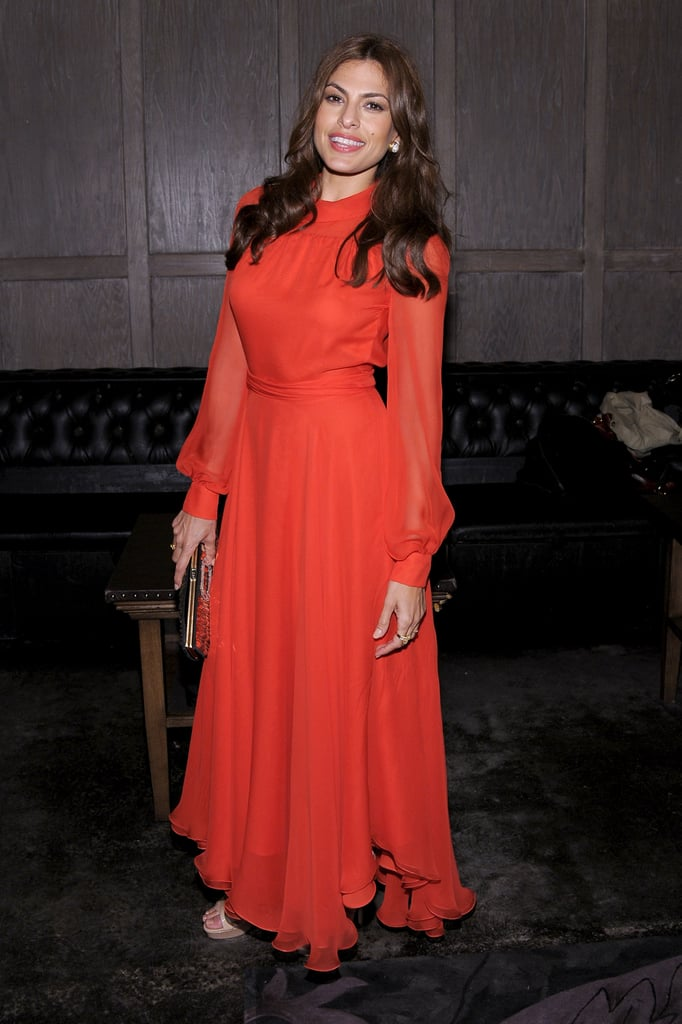 Eva Mendes in Red Gucci Dress