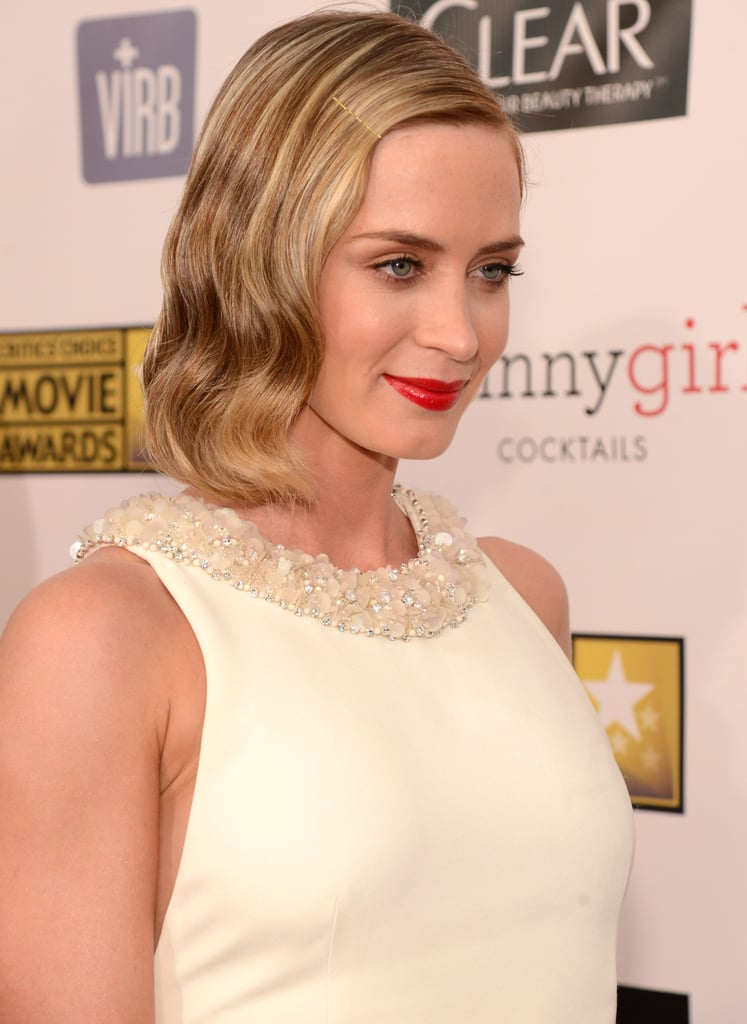 Emily Blunt Wears White With John by Her Side at Critics' Choice