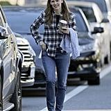 Jennifer Garner Wearing Plaid Shirt in LA Pictures