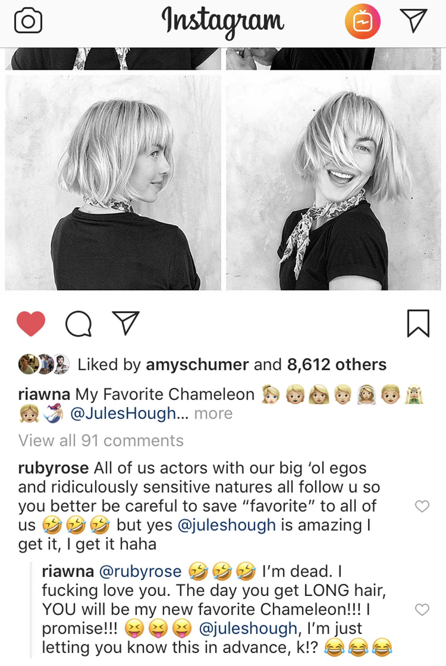 Ruby Rose Response To Julianne Hough Haircut September 2018