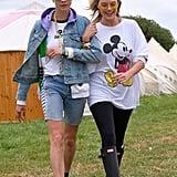 Cara Delevingne and Margot Robbie at Glastonbury 2017