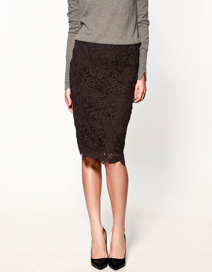 Lace makes this one flirty and just a little sexy, but with a length you can take to the office.   Zara Lace Skirt ($80)