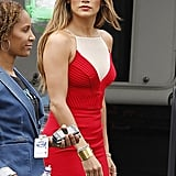 Jennifer Lopez wore a gold cuff on one wrist for the show.