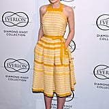 Carey was the epitome of Spring, working a sunny striped Bottega Veneta dress and perforated sandals in LA.
