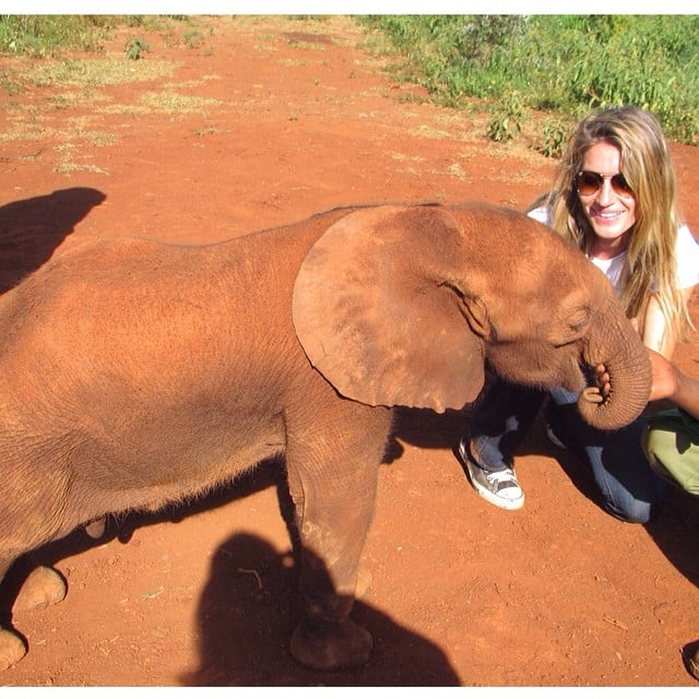 Gisele Bündchen showed off her fun with a baby elephant for World Wildlife Day. Source: Instagram user giseleofficial
