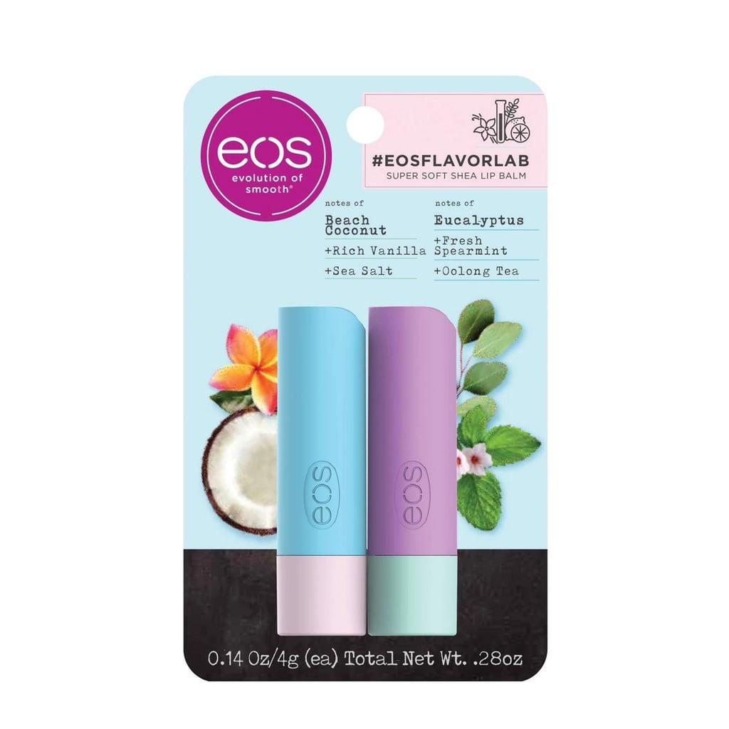 Eos Flavor Lab Lip Balm Sticks in Salted Coconut and Eucalyptus Spearmint Tea