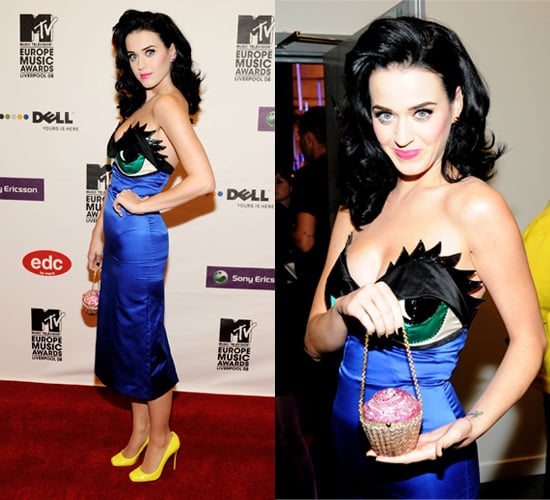 Katy Perry in Eye Dress at 2008 MTV Europe Music Awards