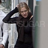 Kate Winslet out for a walk in Paris.