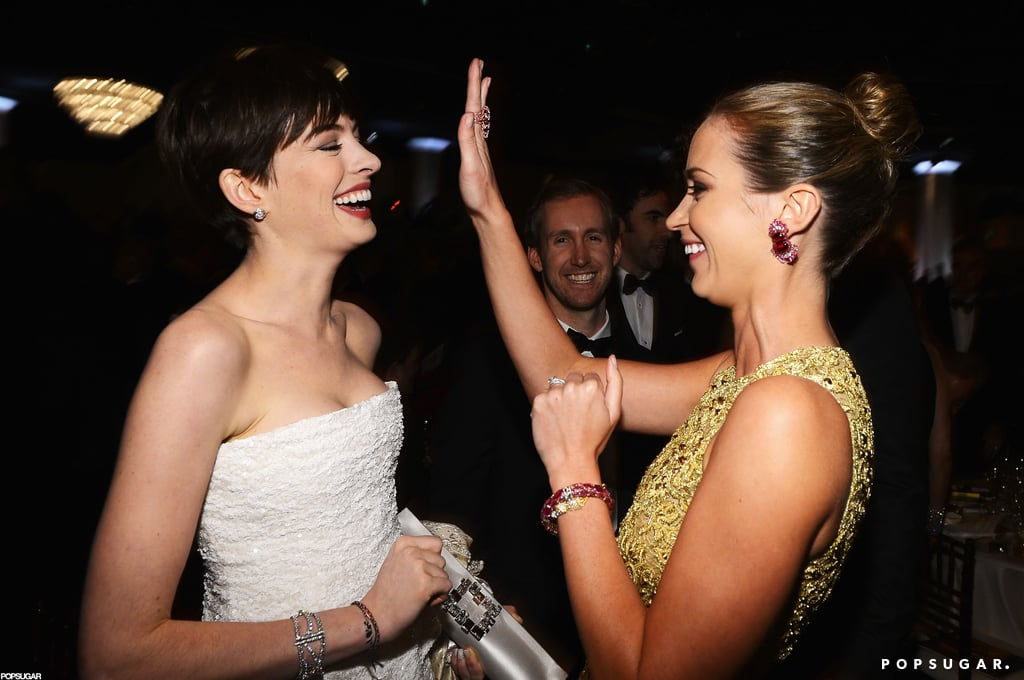 Anne Hathaway and Emily Blunt shared a laugh.