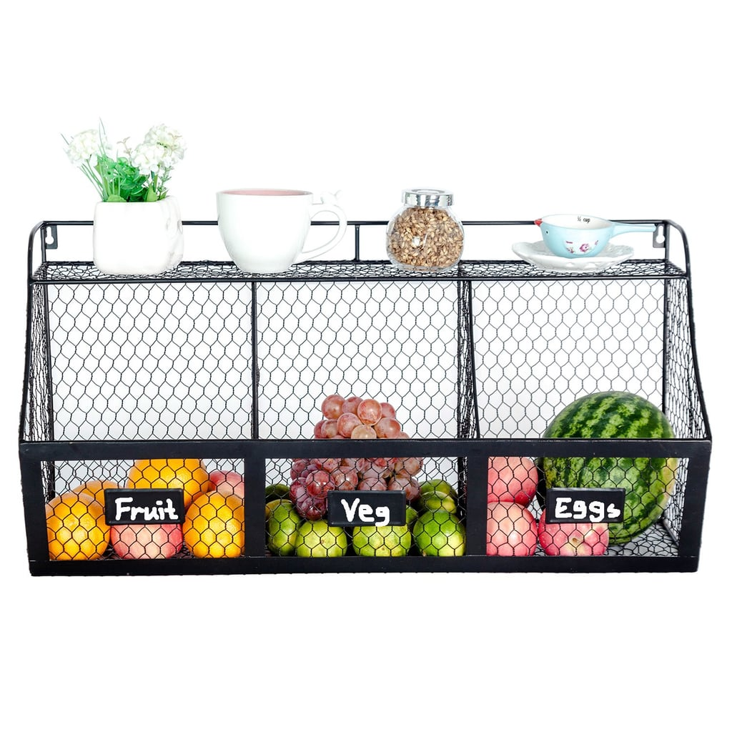 3-Compartment Kitchen Basket Large Wall-Mount Metal Storage Hanging Organizer
