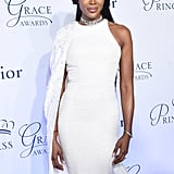 Naomi Campbell stole the spotlight at the 2016 Princess Grace Awards Gala in her stunning white dress and gorgeous detailed choker. Cinderella who?