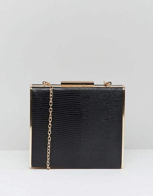 e6af7fadb Claudia Canova Box Clutch Bag With Metal Trim and Detachable Chain ...