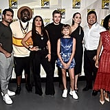 Pictured: Kumail Nanjiani, Brian Tyree Henry, Salma Hayek, Richard Madden, Lia McHugh, Angelina Jolie, Don Lee, and Lauren Ridloff at San Diego Comic-Con.