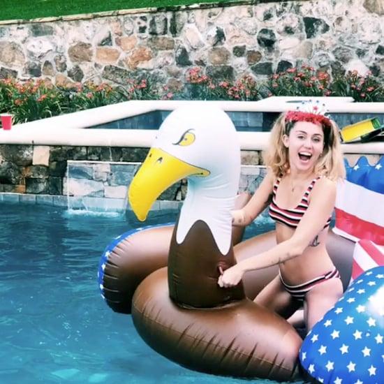 Miley Cyrus Striped Bikini on July 4 2018