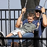Tom Brady and Jack Moynahan played on the swings.