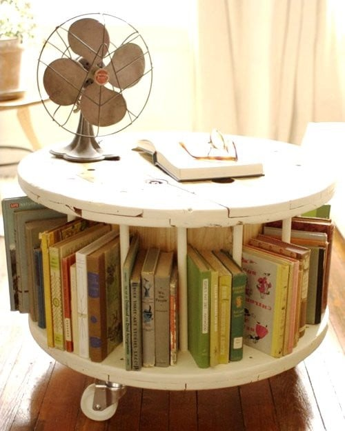 cable spool book table storage solutions for kids 39 books popsugar moms photo 3. Black Bedroom Furniture Sets. Home Design Ideas
