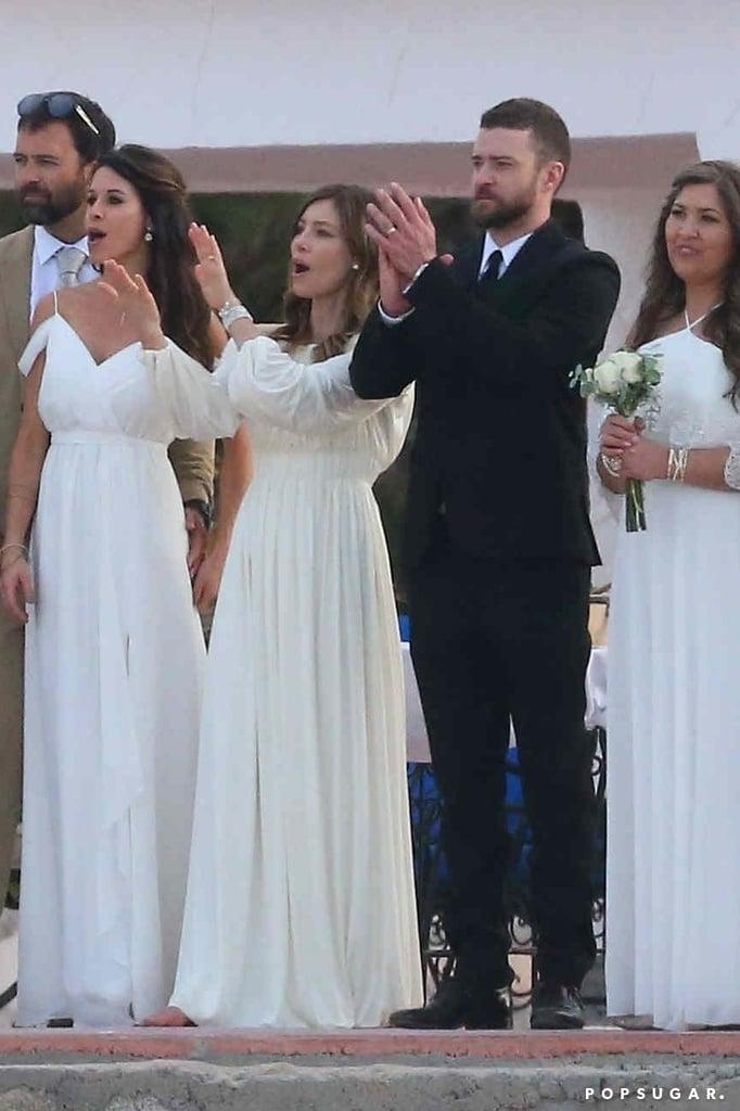 Jessica Biel's White Wedding Guest Dress