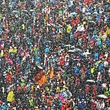 Heavy snow fell during the IBU Biathlon World Cup in northern Italy.