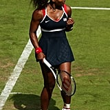 Serena Williams Wearing Navy, Red, and White at the Olympics in 2012