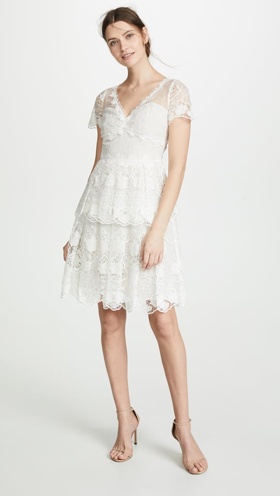 Marchesa Notte Floral Eyelet Tiered Dress